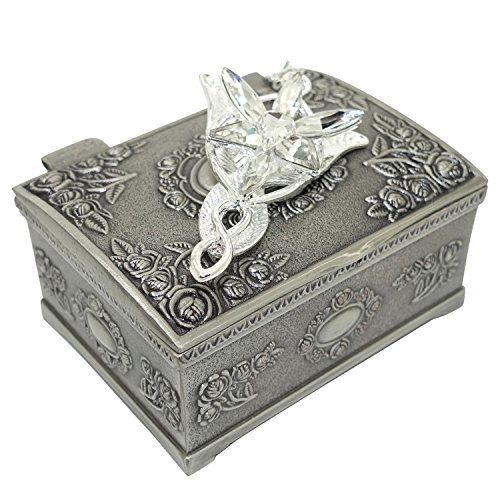 PALLION Silver Plated Lord of The Rings Arwen's Evenstar Pendant Necklace with Jewelry Box Women,Girls