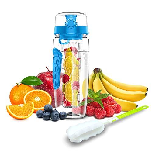 Babacom Botella de Agua Deportiva,Botella de Agua con Infusor de Frutas-946ml,1500ml,Botella de Agua Sin BPA con Infusor,con Mango y un Cepillo de Limpieza, Ideal para Oficina, Gimnasio, Al Aire Libre