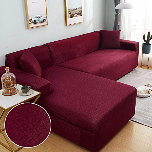 B/H Cubre Sofá Moderno Universal Cubierta Sofa,Funda de sofá elástica para Esquina de Sala de Estar en Forma de L Longue Sofa Slipcover-6_3seater_and_3seater,Polvo Fundas Protector para Sofá Sillones