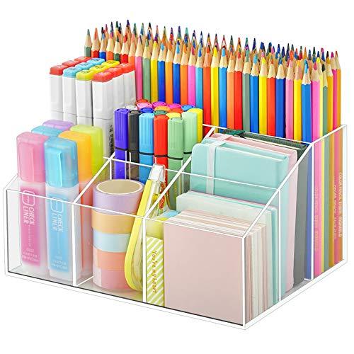 Vitviti Acrylic Pen Holder Clear Desk Organizer Pen Organizer for Desk 7 Compartments Desk Pencil Holder Desktop Stationery Organizer for Office StorageSchoolHomeArt Supplies