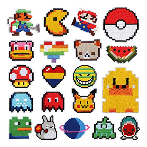 Iron on Patches for Backpacks Clothing Jackets Pixel Iron on Patches Vintage Cute Assorted Embroidered Patches for Handbag Shoes caps Mario Birthday Video Game Party Supplies (20pcs-Pixel)