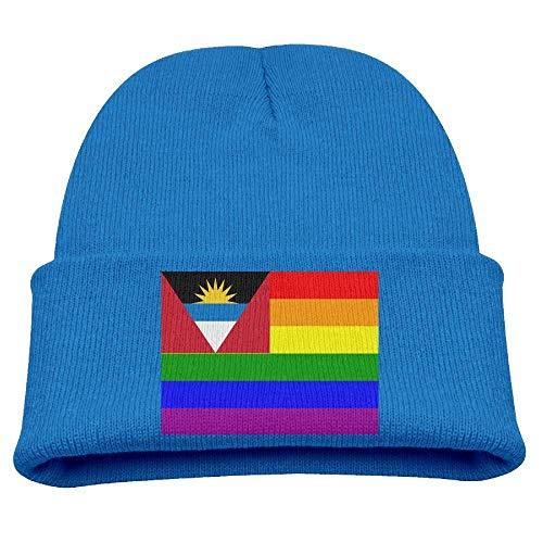 DearLord Antigua y Barbuda Rainbow Flag Niños Sombreros Invierno Funny Soft Knit Beanie Cap Niños Unisex