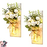 Rustic Wall Sconces Mason Jar Lights Handmade Wall Art Hanging Design with Remote Timer LED Fairy Lights and White Rose, Farmhouse Kitchen Decorations Wall Decor Living Room Sconces (Set of Two)