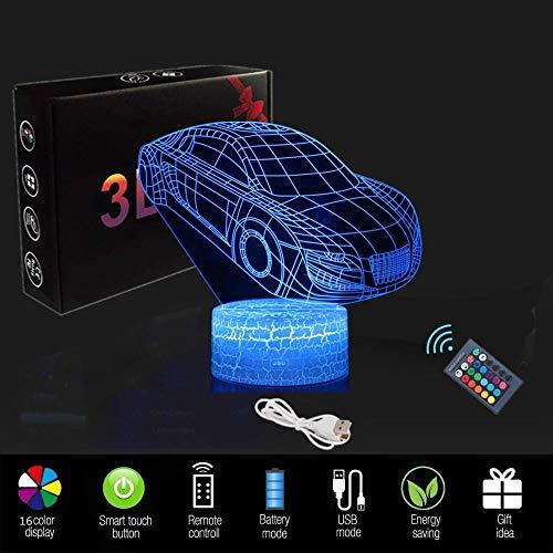 3D raceauto-nachtlampje cadeaus voor kinderen (3 patronen) met afstandsbediening en 16 kleurwisselingen en dimbare functies kerstverjaardagscadeaus voor jongens meisjes man kind