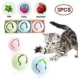 Volwco Interaktives Katzenspielzeug-Set, 3-teilig, Ahornblätter, interaktives Spielzeug, Glocke, Ball, Katzenminze, Spielball für Kätzchen, Jagd auf gesunde körperliche Übungen