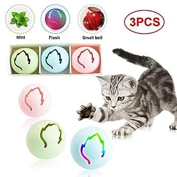 Volwco Lot de 3 jouets interactifs pour chat Feuille d'érable Jouets interactifs pour animaux domestiques Balle à clochette Balle brillante herbe à chat Balle de divertissement Jouets pour chatons