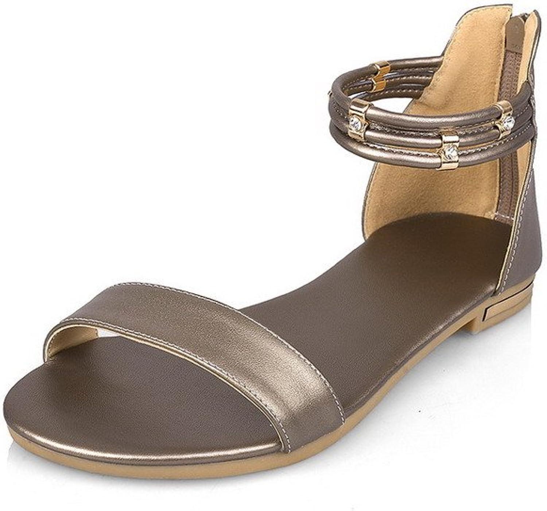 WeenFashion Women's Cow Leather Solid Zipper Open Toe No Heel Flats-Sandals