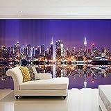 NZHHQW Cortinas Visillos 2 Piezas x 140 x 260cm 3D Cortinas Translucida de Dormitorio Moderno Ventana Visillos Salon Paneles con Ojales Privacidad Ventanas para Sala Salon Habitación,Nueva York