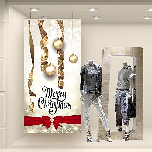FDN0152 Adesivo murale Wall Art - Fondale pendenti con fiocco - Misure 100x200 cm - Fondali per vetrine, saldi, stickers, adesivi