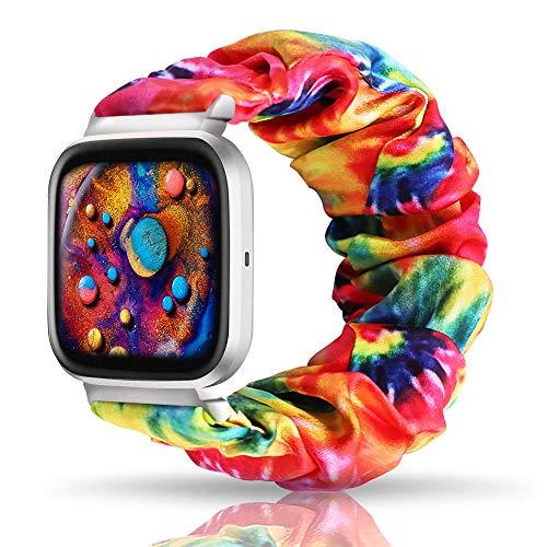 UooMoo Tie dye Scrunchie Elastic Band Compatible for Fitbit Versa/Fitbit Versa 2/Fitbit Versa Lite,Tie-dye Elastic Hair Wristbands Replacement Wristband for Fitbit Versa Smart Watch (Rainbow)