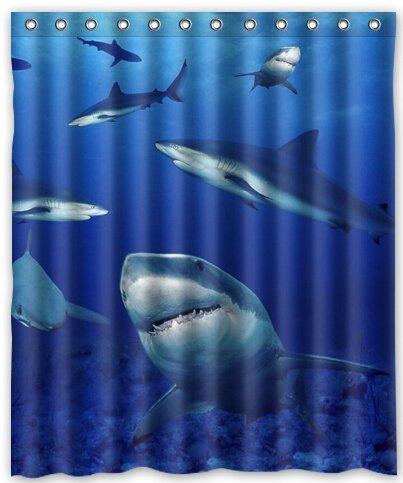 ZHANZZK Shark Waterproof Bathroom Shower Curtain 60x72 Inches