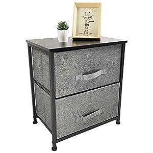 KKTONER Mesita de Noche Tela cómoda Dormitorio para el Dormitorio Caja de Almacenamiento con 2 cajones de Tela aparador Práctico Mueble Cajonera Ahorra Espacio Color Gris