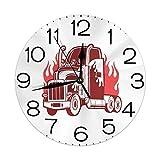 丸い壁時計家の装飾、火の18ウィーラーシルエットモノクロ輸送テーマレトロなスケッチスタイル