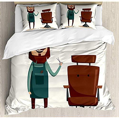 Ogden Moll Bettbezug Set,Friseur Zeichentrickfigur Mit Scheren Lounge Sessel Aufdruck,3 Teiliges Bettwäscheset Mit 2 Kissenbezügen