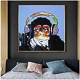 Pintura de póster Impreso Lienzo Arte Mono de pensamiento abstracto con auriculares Imágenes de pared Decoración de la habitación de los niños 30x30cm (11.8'x11.8') Sin marco