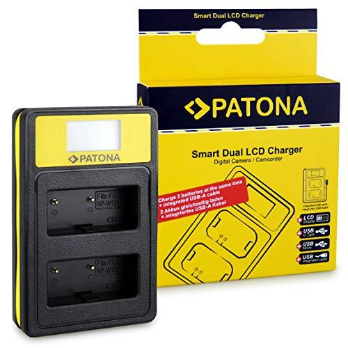 PATONA Cargador Doble LCD Adecuado para NP-W126 Baterías Compatible con Fuji HS-30EXR HS-33EXR X-Pro 1 X-Pro2 X-Pro3 con Puerto USB-A, USB-C, Micro-USB