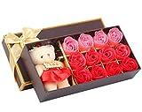 12PCS Weihnachten Valentinstag Tag Kreativ Geschenke Bär Seife Rose Hochzeit Zubehör Seife Blumen...