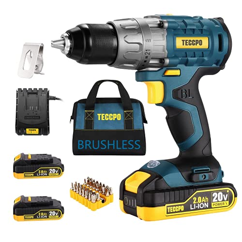 """TECCPO Cordless Drill Brushless, 20V Li-ion Drill Driver Set, 2 x 2.0Ah Batteries, 530 In-lbs Torque, 1/2""""Keyless Chuck, 21+1 Torque Settings, 1H Fast Charger, 33pcs Bits Accessories with Tool Bag"""