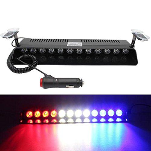 Viktion 12W 12 LEDs Feux de Pénétration Lumière Stroboscopique Eclairage Clignotant à 13 Modes pour Voiture Camion véhicule SUV DC12V (Rouge & Bleu & Blanc)