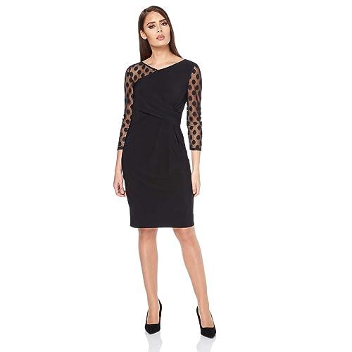 Ladies Evening Cocktail Party Little Black Dress LBD Bodycon Lace Polka Dot Office Elegant Fitted Sheer Sleeved Dresses Roman Originals Women Spot Mesh Wrap 3//4 Sleeve Dress