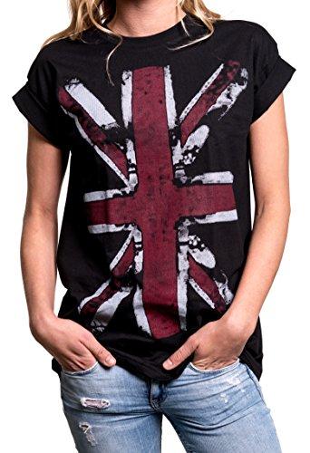 MAKAYA Oversize Top Verano Manga Corta - Union Jack Flag - Bandera Inglaterra - Camiseta para Mujer Negro XXL