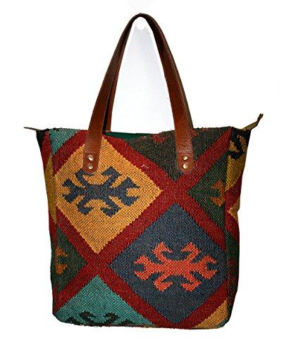 Handmade Old shoulder-bag turco kilim borsa, tracolla, borsa a mano, tracolla da donna vintage kilim iuta con striscia di cuoio Old tradizionale vintage–Hnadmade juta