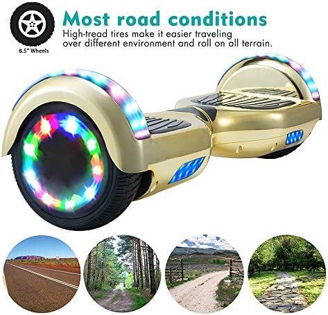 """Wind Way Hoverboard Bluetooth - 6,5"""" Balance Board Adulte Tout Terrain Over Board - LED Skateboard Électrique - Enfant Super Cadeau Pas Cher - SmartBoard - Or Chromé"""