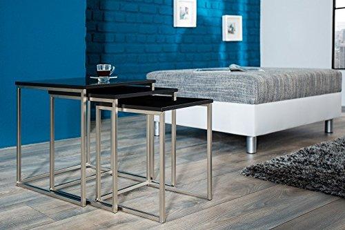 DuNord Design Beistelltisch Couchtisch 3er Set Stage schwarz Edelstahl Design Tisch Set