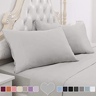 HOMEIDEAS 4 Piece Bed Sheet Set (Full, Light Gray) 100% Brushed Microfiber 1800 Bedding Sheets - Deep Pockets, Hypoallergenic, Wrinkle & Fade Resistant