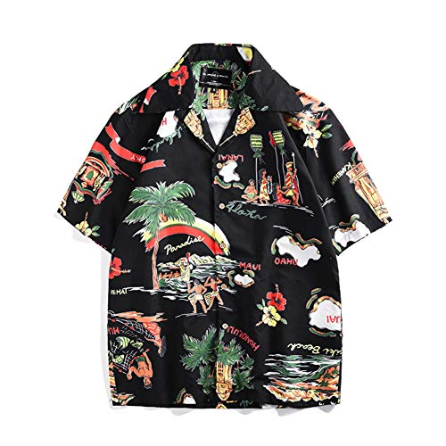 Lvjiyinren Hawaii shirt voor mannen en alleen, bedrukt, casual korte mouwen, T-shirts Aloha Beach Party vakantie Fancy Dress Shirts Medium