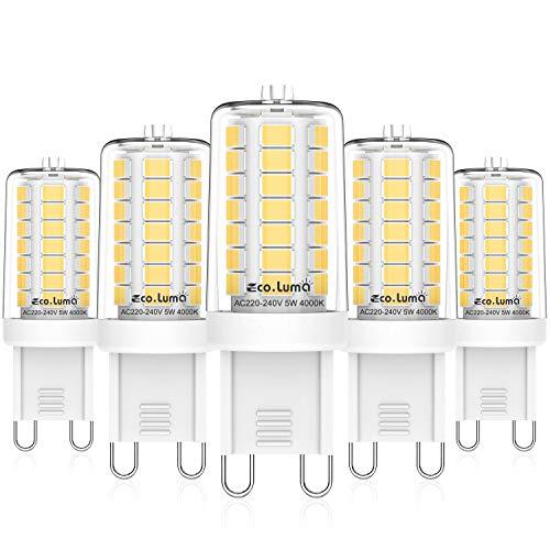 G9 LED-glödlampor 4000 K naturligt vitt, 5 W ersättning för 40 W halogenlampor, 360 ° strålvinkel LED G9 lampa, inget flimmer, inte dimbar, AC 220-240 V, paket med 5, Eco.Luma