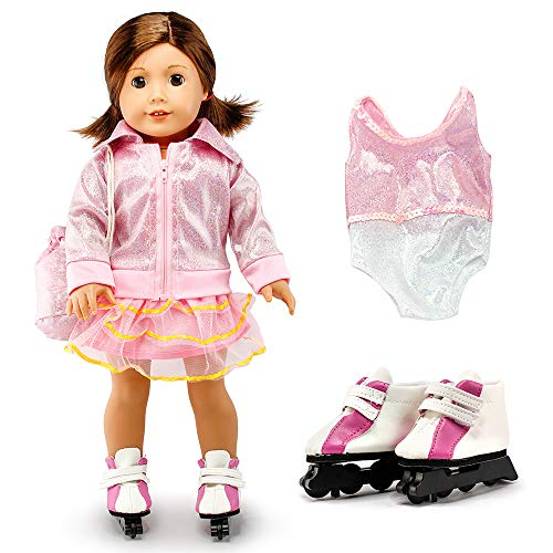 Oct17 Fits Compatible with American Girl 18' Skating Outfit 18 Inch Doll Clothes Accessories Costume Set Pink Bodysuit Bag Coat Skate Shoes