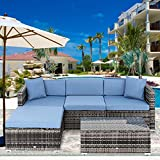 Apepro 5 Pieces Outdoor Sectional Furniture Patio Sofa Set All Weather Patio Conversation Sets Wicker Outdoor Furniture Seating with Coffee Table Blue