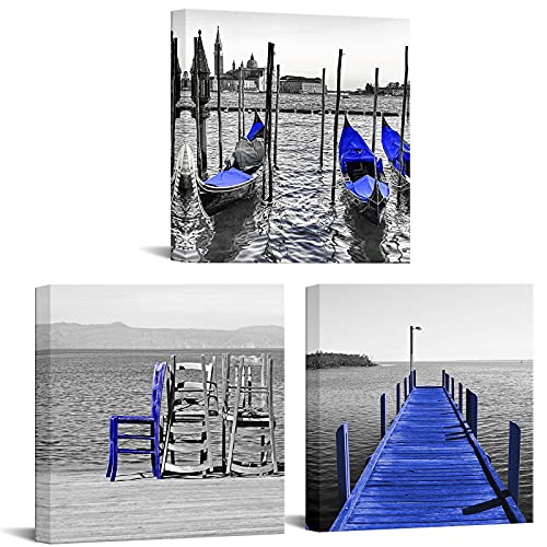 Nachic Wall - 3 Piece Canvas Art Wall Decor Black and White Blue Venice Italy Gondolas Boats Beach Wooden Pier Pictures Art Print on Canvas Modern Home Living Room Decor Stretched Ready to Hang