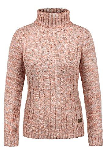 DESIRES Philipa Damen Rollkragenpullover Pullover Zopfstrick Mit Rollkragen Aus 100% Baumwolle, Größe:XL, Farbe:Powder Rose (5178)