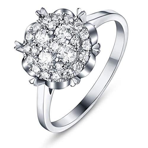 Beydodo Anillos Oro Blanco 18 Kilates Mujer Flor con Diamante Blanco 3ct Anillo Talla 12