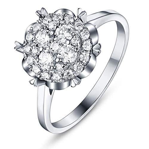 Beydodo Anillos Oro Blanco 18 Kilates Mujer Flor con Diamante Blanco 2ct Anillo Talla 12