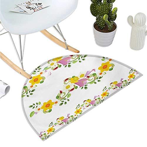 Daffodil - Felpudo de Medio Redondo, diseño de narcisos y regaderas, Estilo Acuarela, diseño de impresión de jardinería, Alfombrilla de baño de 40 x 60 cm, Color Amarillo y Blanco