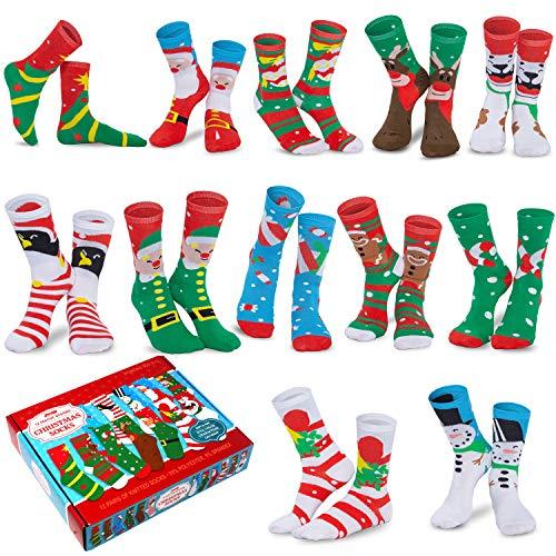 JOYIN 12 Pairs Warm Soft Cotton Christmas Socks Set for Christmas, Holiday or Birthday Gift