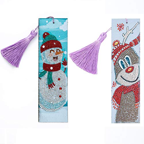 Lovetao 5D Diamond Painting Bookmarks Creative Leather Tassel Bookmark DIY Beaded Bookmarks Adults DIY Bookmarks Rhinestone Mosaic Gift for Kids Adults Arts Craft Gifts (Snowman & Reindeer)