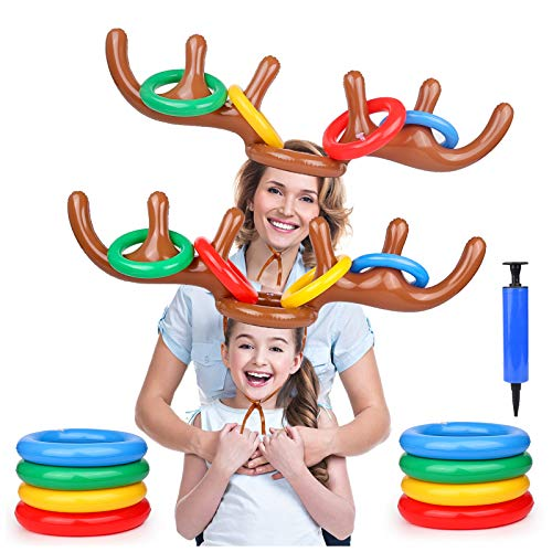 Gamenote 2 Pack Inflatable Reindeer Antler Ring Toss Game, Christmas Party Games for Kids, Toss Game for Indoor Outdoor Family (2 Antlers 8 Rings)