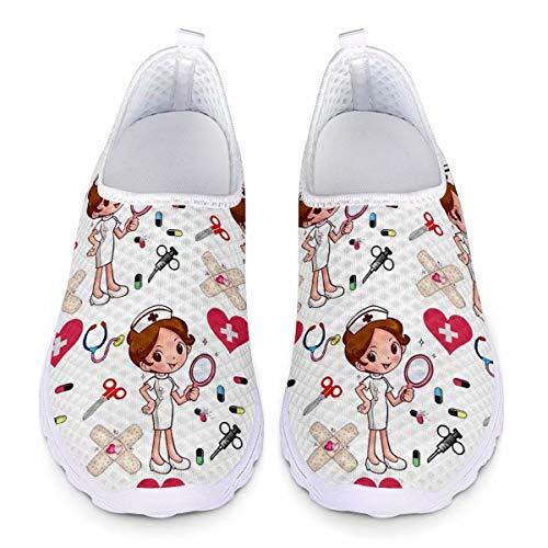 chaqlin Baskets Dames Filles Infirmière Chaussures Blanc Femmes Casual Mesh Chaussures De Course pour Femmes Adulte Casual Sport Gym Formateurs Respirant Plage Chaussures d'eau 38 EU
