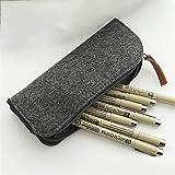 WXX Fournitures de Bureau Fournitures Scolaires Stylo Crayon Plat Sac en Feutre (Gris) (Color : Grey)
