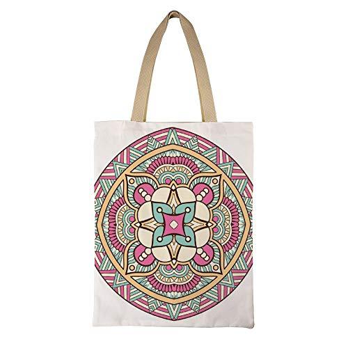 DKISEE Bolso de lona reutilizable con diseño de mandala floral, respetuoso con el medio ambiente, estilo bohemio, bolsa de compras, bolsa de hombro informal grande 15'x17.7' # 02