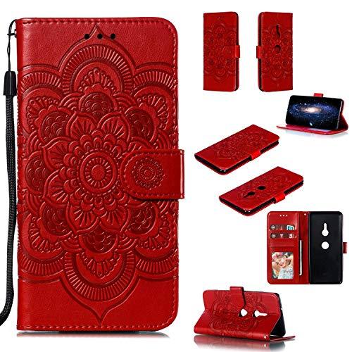 Capa para Xperia XZ3, YINCANG com estampa de flor de sol em relevo couro PU macio TPU silicone interno compartimentos para cartão magnético Flip Case para Sony Xperia XZ3 6 polegadas - Vermelho