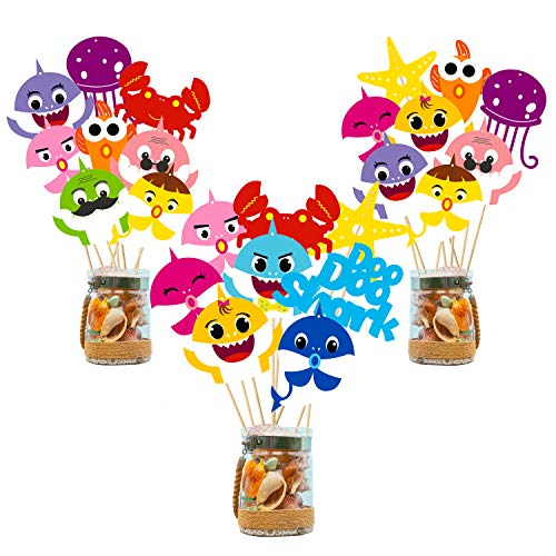 Big Save! Ticiaga 42pcs Doo Doo Shark Party Centerpiece Sticks Table Topper for Birthday Party Decor...