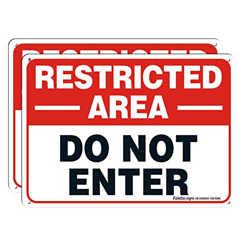 Restricted Area Sign, Do Not Enter Signs Metal, 2 Pack, 10 x 7 inch .40 Rust Free Aluminum, UV Protected, Weather Resistant, Waterproof, Durable Ink, Easy to install
