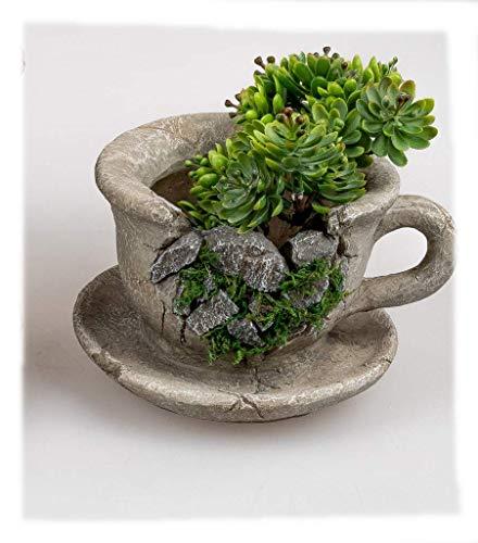 Deko für Haus und Garten- Pflanztasse im Vintage-Stil 18cm aus Kunststein