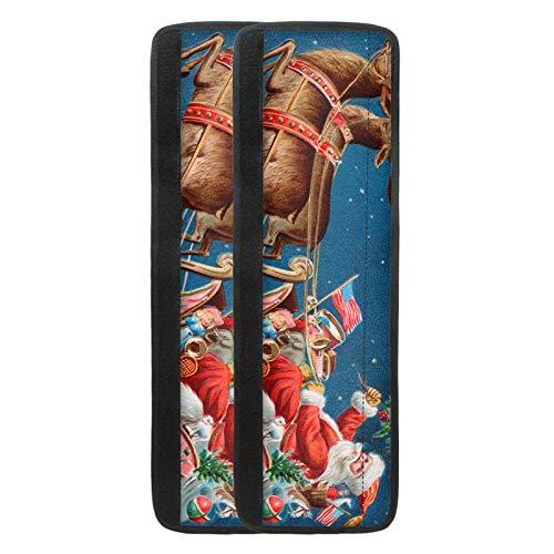 Pizding Cubiertas de manija de puerta de refrigerador,Antideslizante dispositivo Refrigerador manija de la puerta titular,Imprimir Santa Claus Navidad,Frigorífico/Horno/Microondas Guantes protectores