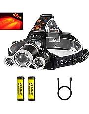 Bestsun Hoofdlamp, oplaadbaar, USB 5000 lumen, jacht, voor op het werk, camping, vissen en nachtjacht